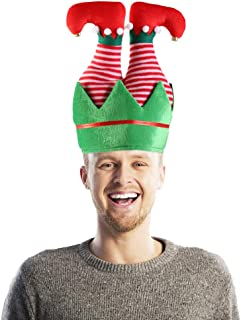 Christmas Elf Hat with Bells, Funny Holiday Hat Christmas Hats Christmas keychain for Kids and Adults
