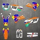 YHYPRESTER ZWFC001-2 Calcomanías de motocicleta 3M personalizadas Pegatinas Gráficos Gráficos Kit de decancia gráfica Compatible con K*T*M XCW SXF EXC XCF 125 150 200 250 300 350 450 450 500 2005 2006