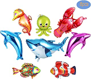 Ocean Animals Foil Balloon Large Dolphin/Shark/Octopus/Lobster/Tropical Fish Balloons for Kids Birthday Party Decoration 8pcs