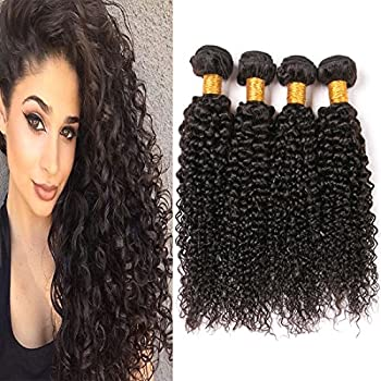 4Pcs Curly Hair Brazilian Jerry Curl Bundles 16 18 20 22 Inches Remy Human Hair Extensions Weft Natural 1b Brazilian Hair Weave 8a Prime For Black Women
