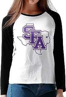 AuSin Women's Long Sleeve Baseball Raglan Shirt SFA Logo Black
