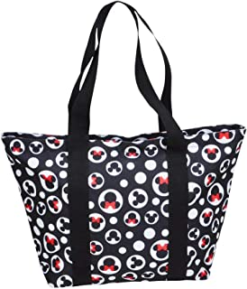 Disney Tote Mickey & Minnie Mouse Icon Polka Dot Print Travel Beach Bag Black
