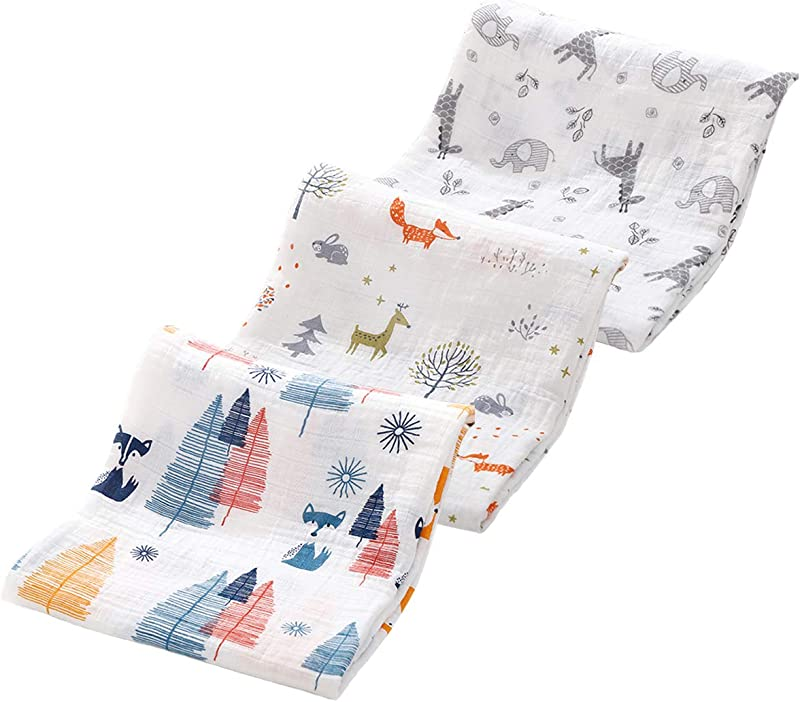 Kingrol 3 Pack Baby Muslin Swaddle Blankets Soft Unisex Swaddle Wrap For Boys And Girls Foxes Elk Elephants