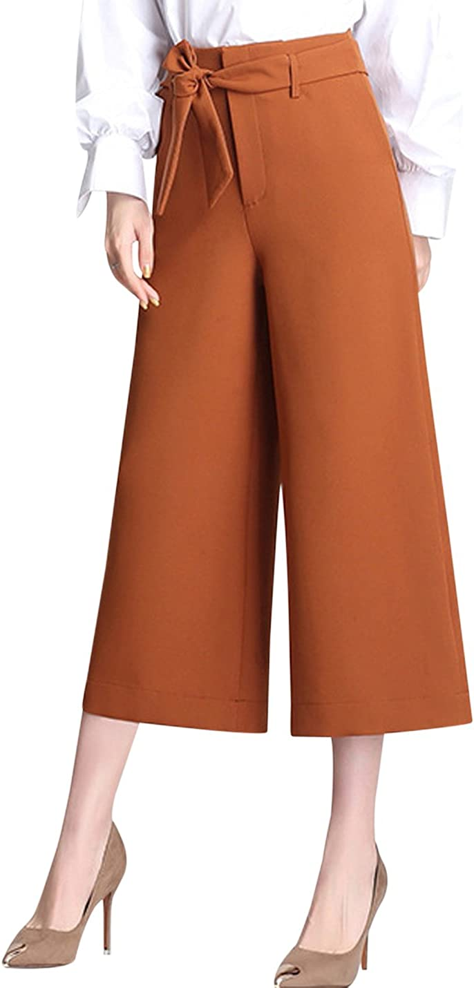 Uaneo Women's High Waist Cropped Belted Wide Leg Casual Dress Pants Trousers