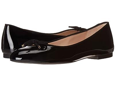 Stuart Weitzman Gabby Bow Flat (Black Patent) Women