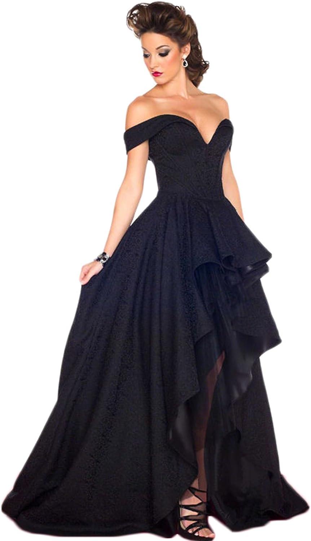 SDRESS Women's Cap Sleeve Off Shoulder Backless HighLow Sweep Train Prom Dress