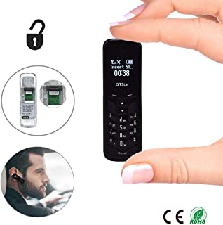 Mini Cell Phones Unlocked Bluetooth- Tiny Phone World Smallest Mini Phone GSM Bluetooth Handset Mini Phone Bluetooth Dialer Supported Dual Sim Card BM50(Black)