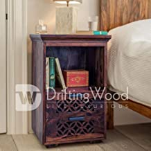 Driftingwood Sheesham Wood Bed Side Cabinet with 2 Drawer for Living Room | Light Walnut Finish