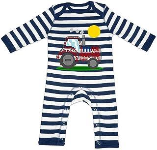 HARIZ HARIZ Baby Strampler Streifen Traktor Sonne Auto Polizei Plus Geschenkkarte Navy Blau/Washed Weiß 6-12 Monate