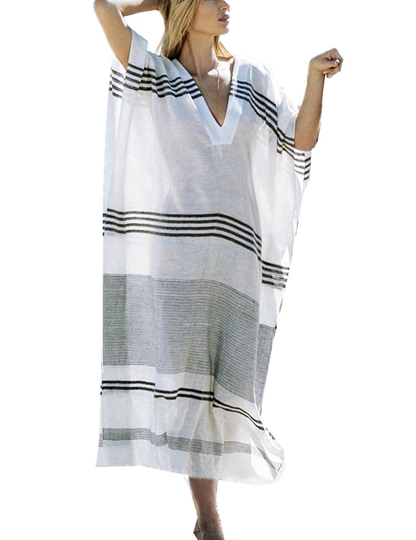 L-Peach レディース お洒落な Vネック 夏の日焼け対策 ロング ワンピース パレオ 水着 ビキニ 体型カバー エレガント リゾート 海辺旅行 ビーチウェア