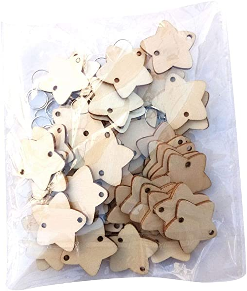 Zerama 50pcs Tree Moon Star Shape DIY Wooden Chips And 50pcs Iron Loop Hanging Christmas Tree Ornament Scrapbooking Embellishments