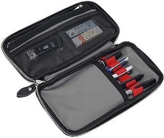 ペンケース 革 レザー 筆箱 大容量 ペン立て 多機能 おしゃれ シンプル 社会人用 男の子 女の子 文房具 (黒い)