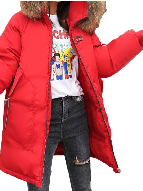 Omniscient Women Warm Slim Hooded Winter Long Down Jacket Parka Outwear