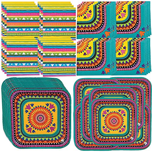 Fun Express Boho Fiesta Party Bundle | Dinner & Dessert Plates, Napkins | Great for Birthday, Cinco de Mayo, Bohemian, Mexican-Theme Parties