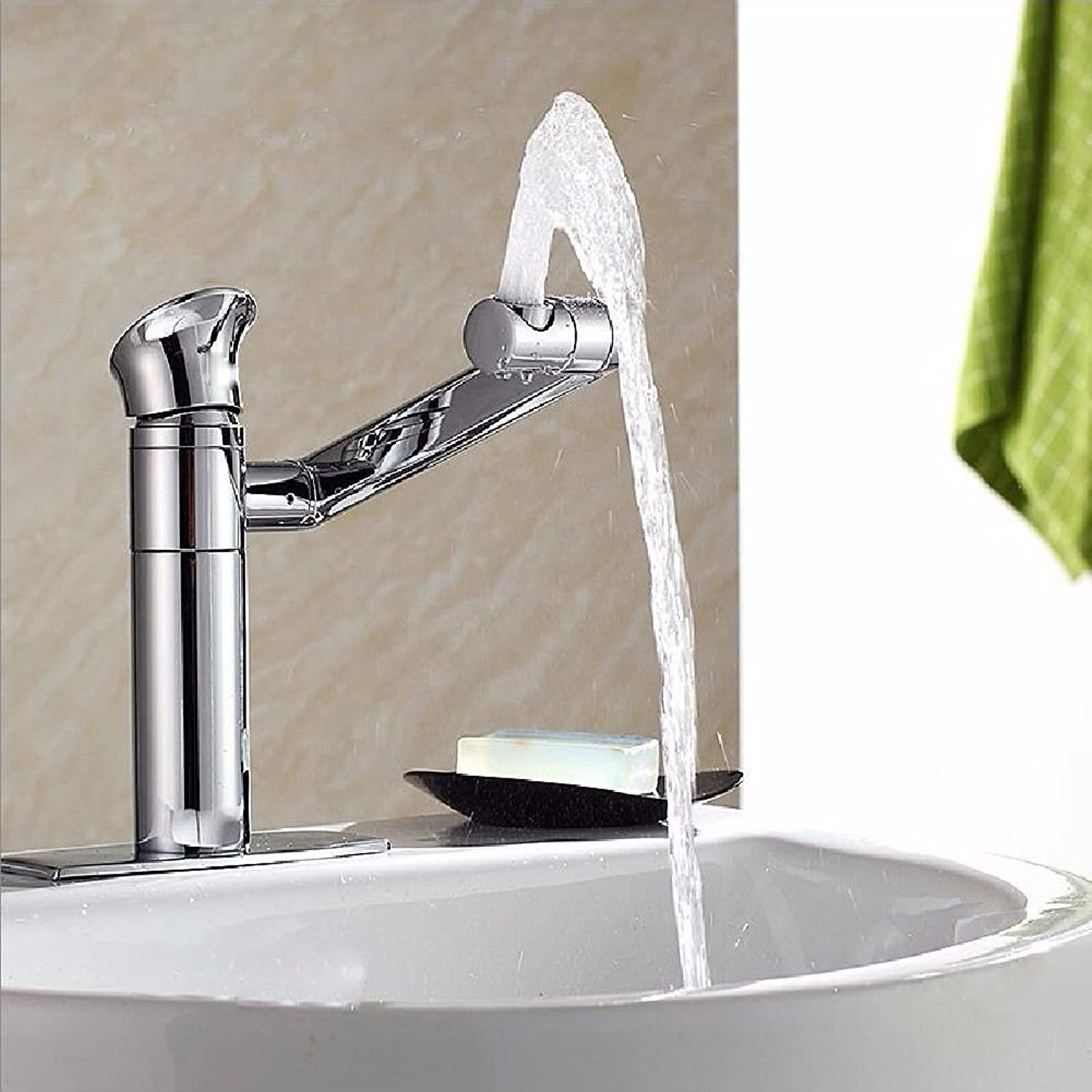 Lalaky Taps Faucet Kitchen Mixer Sink Waterfall Bathroom Mixer Basin Mixer Tap for Kitchen Bathroom and Washroom Copper Double Hole Three Holes Hot and Cold redation