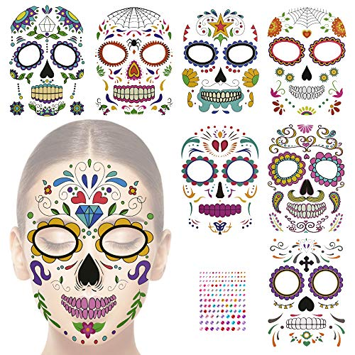 GOLRISEN Tatuajes Temporales de Catrina(8 Hojas) con 141 Piezas Diamantes Autoadhesivas, Tatuajes Temporales de Flores y Hojas, Tatuajes de Agua en la Cara, para Fiestas de Da de Muertos y Halloween