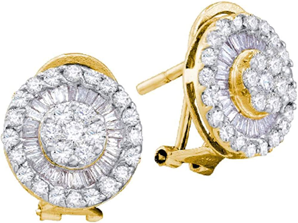 Diamond Earrings Solid 14k Yellow 1 Gold wholesale Large Studs Ranking TOP18 French-clip