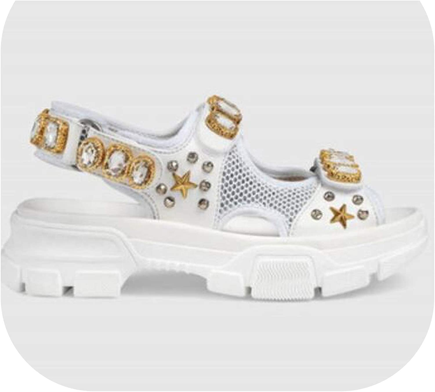 Meiguiyuan Leather and Mesh Women Sandals Chunky Sole Crystals and Rivets Summer Women shoes