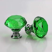 Deurknop Crystal Glass Meubelkast Knoppen Schroef Inbegrepen Lade Pull Handvat, Groene Woondecoratie Zilveren Basis 30mm 4...