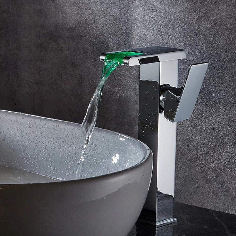 Waschtischarmaturen Bad LED Wasserfall Wasserhahn Waschbecken Waschtischmischer Quadratisch Verchromt Bad Mischbatterie Hoch oder Kurz