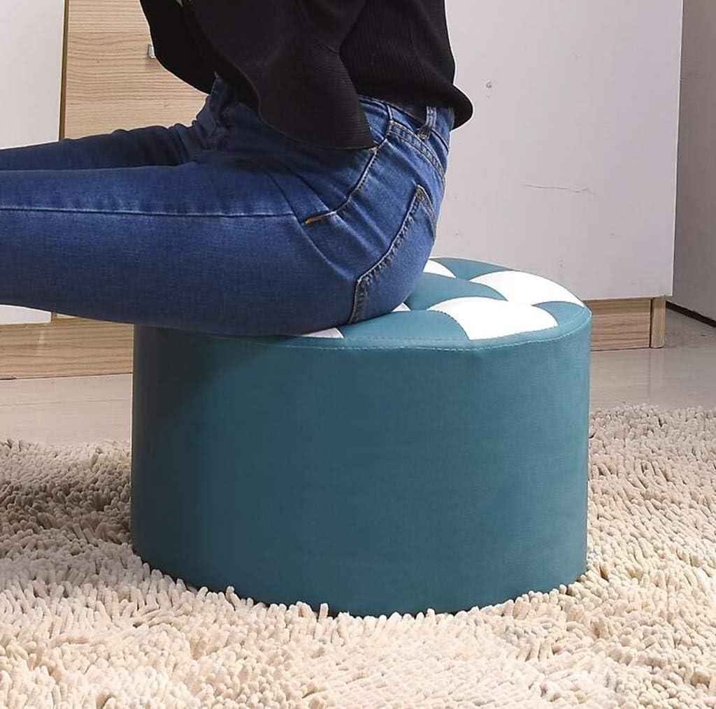 ZH Tabouret, petit siège, bois massif maison mode créative salon canapé banc changer chaussure banc table basse tabouret (Color : Red) Blue