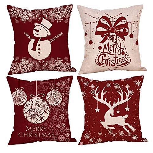 Anyingkai 4PCS Fundas Cojines de Navidad,Cojines Navideños para Sofa,Cojines Decorativos para Sofa Navidad,Cojines Navidad,Funda de Almohada de Navidad (Rojo Blanco)
