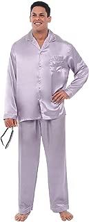 Men's Button Down Satin Pajama Set with Sleep Mask, Long...