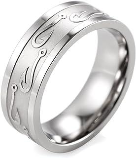 SHARDON Men`s 8mm Titanium Ring with Embossed Fishhooks