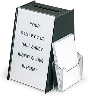 "Displays2go Acrylic Ballot Box with 5.5"" x 8.5"" Sign Holder and Brochure Pocket – Black (RBHSLHWM44)"