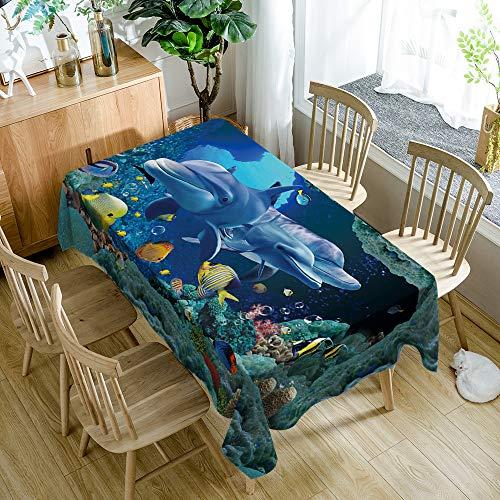 Tafelkleed rechthoek, Cartoon kinderen dierenwereld, walvis, modern minimalistisch, duurzaam tafelkleed polyester antifouling, gebruikt voor picknicks buiten, feesten, familiediners 140X180Cm