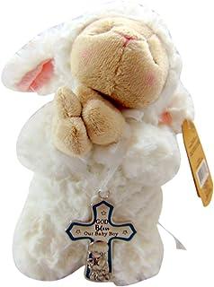 Baby Plush Lamb with Crib Cross for Boy Inside Gift Box Set