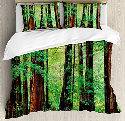 Ambesonne Woodland Duvet Cover Set, Redwood Trees Northwest Rain Forest Tropical Scenic Wild Nature Branch, Decorative 3 Piece Bedding Set with 2 Pillow Shams, Queen Size, Brown Green