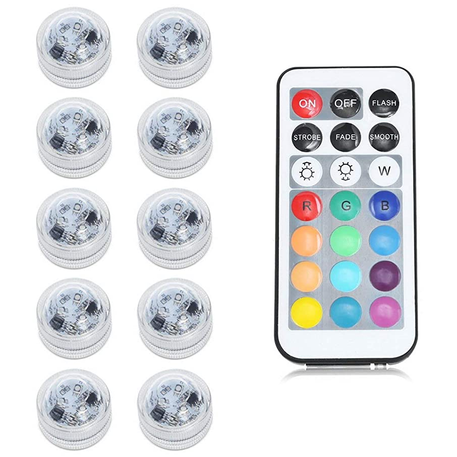 Pandamama 10 Groups with Remote Control Electronic Candle Tea Wax Remote Control Waterproof Led Tea Light - RGB Color