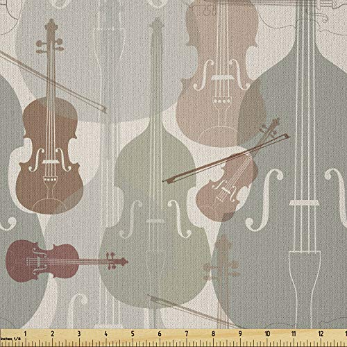 Ambesonne Music Fabric by The Yard, Classical Instrumets String Quartet Violins Baroque Sonata, Microfiber Fabric for Arts and Crafts Textiles & Decor, 3 Yards, Green