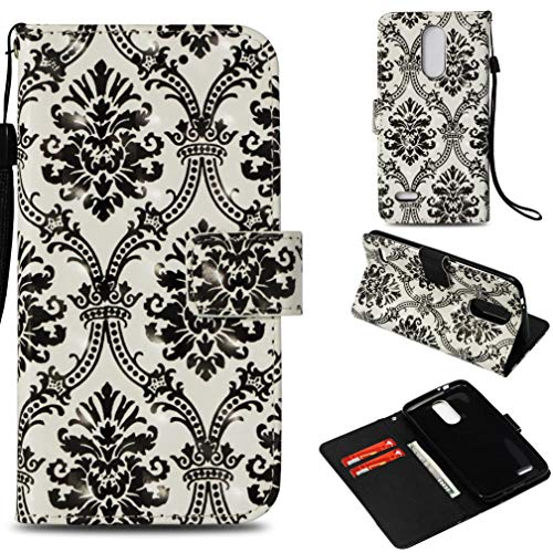 LG K8 2018 Case,Shock Absorbent Pu Leather Kickstand Wallet Case with Inner Soft Silicone Bumper Full Cover Protective Flip Folio Shell with Wrist Strap for LG K8 2018 -Black Lace