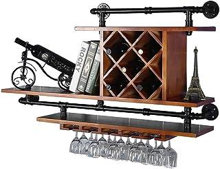 Casier à vin en bois massif fixé au mur |Retro Bar Pub Porte-bouteille de vin Organiser le support de stockage |Étagères...