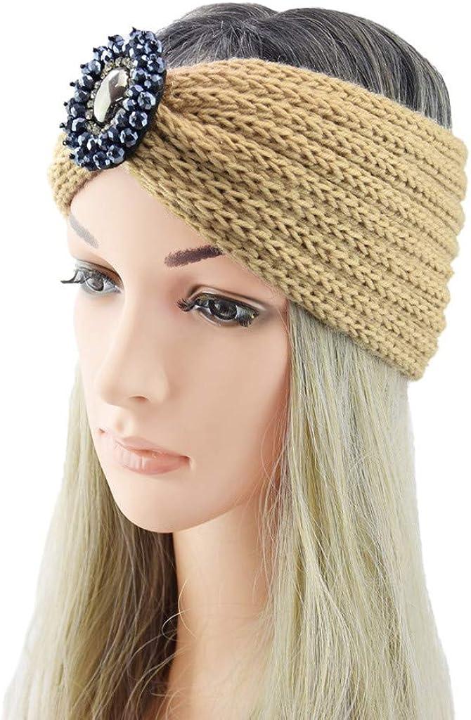 VIVIYY Womens Winter Warmer Headband Knit Hairband Fashion Thermal Hand Knitting Wool Keep Warm Thick Fuzzy Head Wrap
