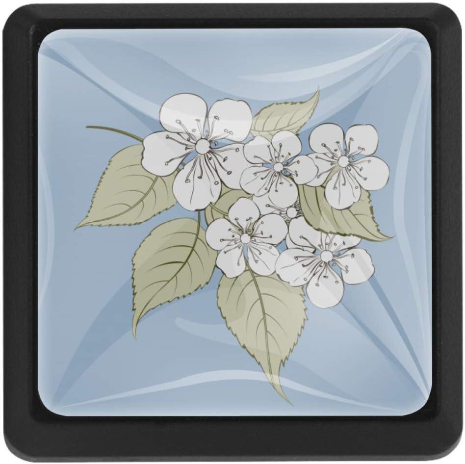Shiiny Sakura Free Shipping New Flowers Square Drawer Handles Knobs Pulls 5 ☆ popular Kitche -