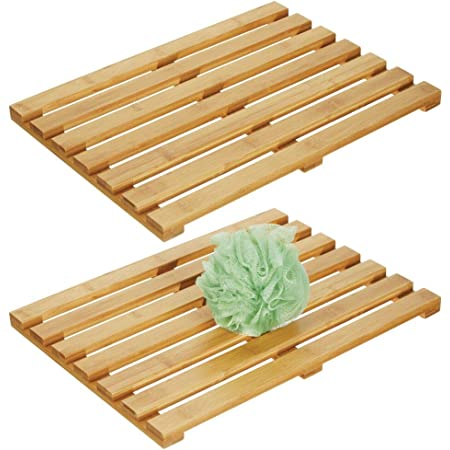 26 x 15.8 inches Non-Slip Bathroom Rugs for Indoor or Outdoor,Black GOBAM Large Bamboo Bath and Shower Mat