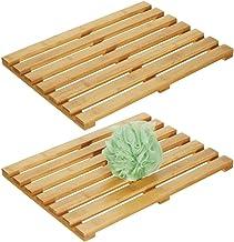 mDesign 100% Bamboo Non-Slip Rectangular Spa Bath Mat - for Bathroom Showers, Bathtubs, Floors - Slatted Design, Eco-Frien...