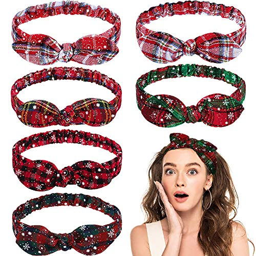 Flymmy Hair Bandanas Christmas Headbands for Women Girls with Bow Rabbit Ear 6 PCS Elastic Head Hair Bands Accessories for Fashion Sport Washing Face …