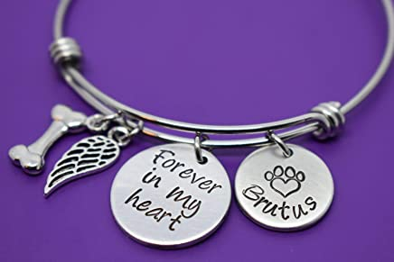 Pet Memorial Jewelry Gift - Dog Memorial Bracelet - Pet Loss Gift - Forever in my Heart - In Memory of Dog. Personalized Dog Remembrance