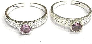 DARSHRAJ JEWELLERS 925 Sterling Silver(Chandi) PinkToe Ring For Women (2.8Gm)