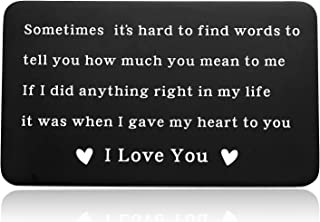 Sentimental Gifts for Boyfriend, Engraved Wallet Insert Card for Men Gift, Sweet Love Note for Husband from Wife-If I Did Anything Right in My Life It Was When I Gave My Heart to You