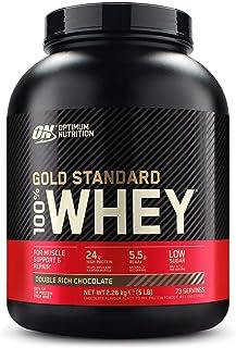 Optimum Nutrition ON Gold Standard 100% Whey Proteína en Polvo, Glutamina y Aminoácidos Naturales, BCAA, Double Rich Chocolate, 73 Porciones, 2.26kg, Embalaje Puede Variar