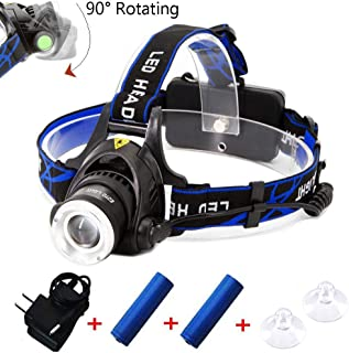 3 Modes Zoomable Super Bright LED NULED Headlamp with Rechargeable Batteries, Wall Charger and Suction Cup for Outdoor Activities Car Farm