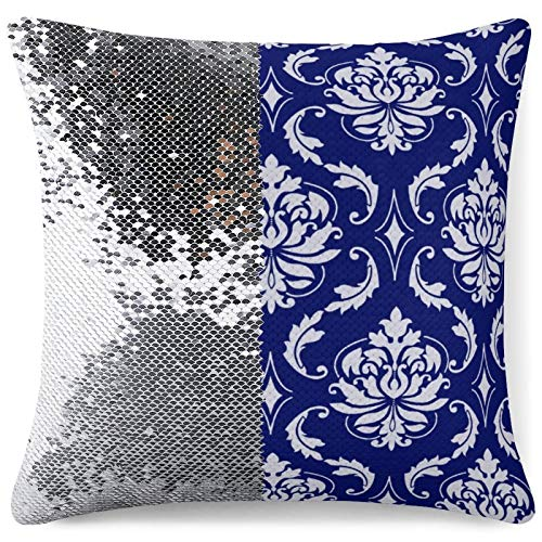 Tamengi Sequin Pillow Cover, Bright Navy Blue Damask Pattern Round Pillow, Zipper Pillowslip Pillowcase, Decorations for Sofas, Armchairs, Beds, Floors, Cars