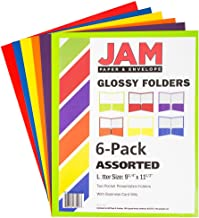 JAM PAPER Laminated Two Pocket Glossy Folders - Assorted Primary Colors - 6/Pack