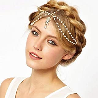 YERTTER Women Boho Vintage Gold Head Chain Headpieces Hair Accessories Party Hair Jewelry for Women and Girls