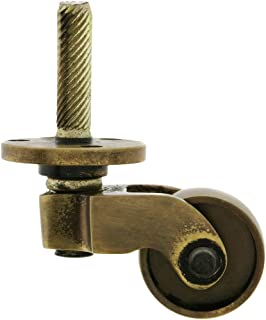 Solid Brass Stem and Plate Caster with Brass Wheel in Antique-by-Hand Finish
